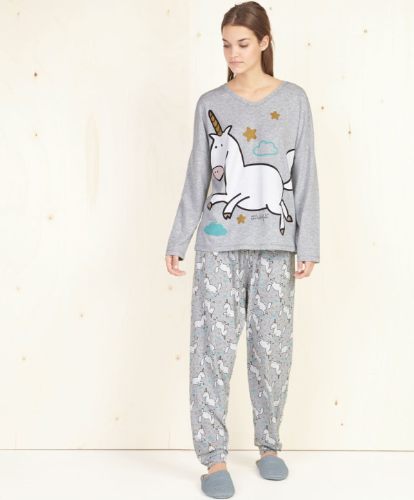 catalogo-oysho-2016-pijama-mr-wonderful-unicornios-gris-600x725